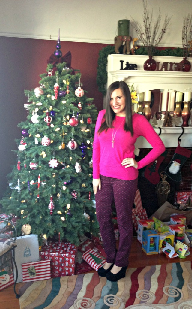 Shirt: LOFT, Pants: LOFT, Necklace: Tiffany, Shoes: Target