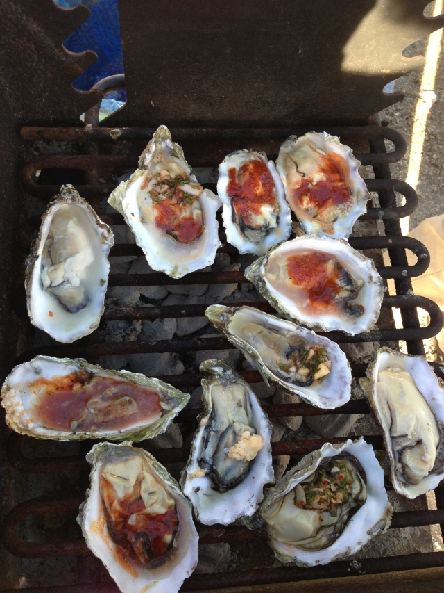 Oysters on the BBQ with all the fixins