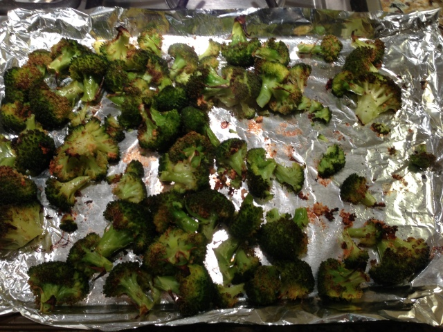 New favorite veggie to roast... I just add a spray of oil + minced garlic + sea salt + pepper... delicious!