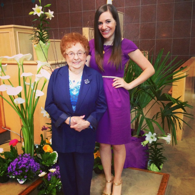 Grandma and I at church- I'm not really quite that much taller than her, but I was wearing 5.5 inch heels!