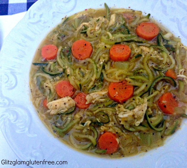 Paleo Chicken Zoodle Soup Close-Up GGGF